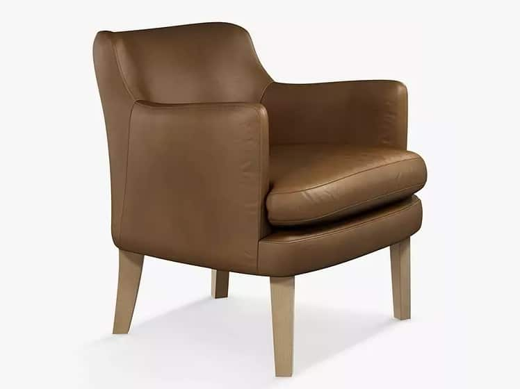 Leather armchair with wooden legs