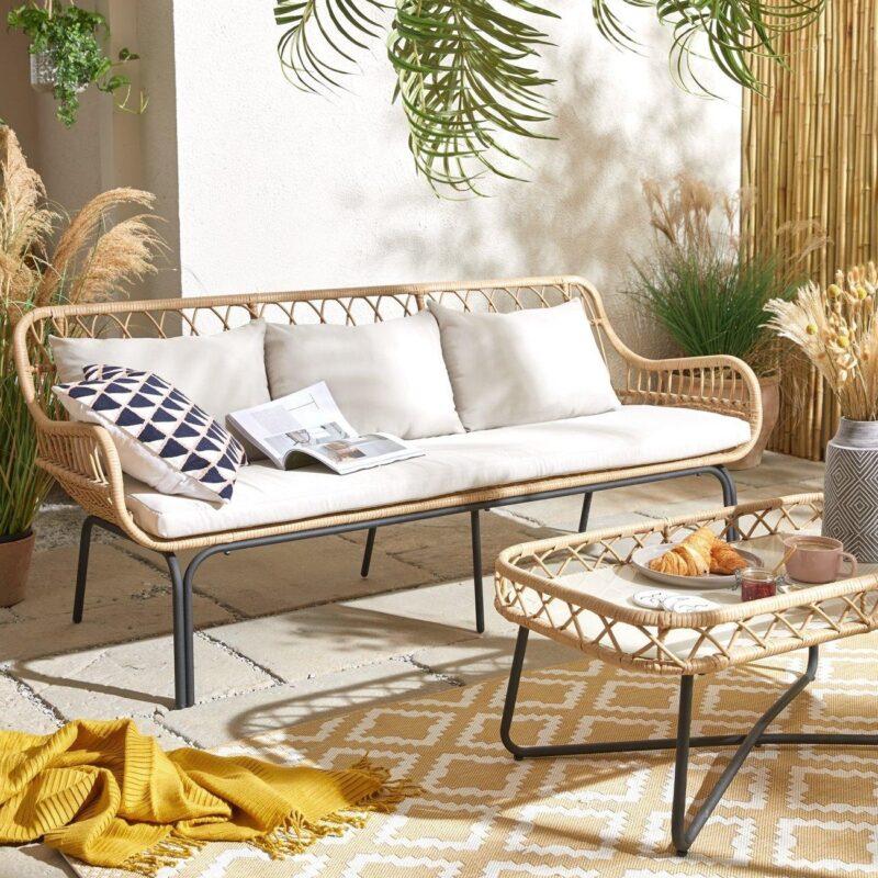 Cane sofa and coffee tabe