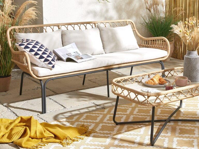 Cane outdoor sofa and matching coffee table