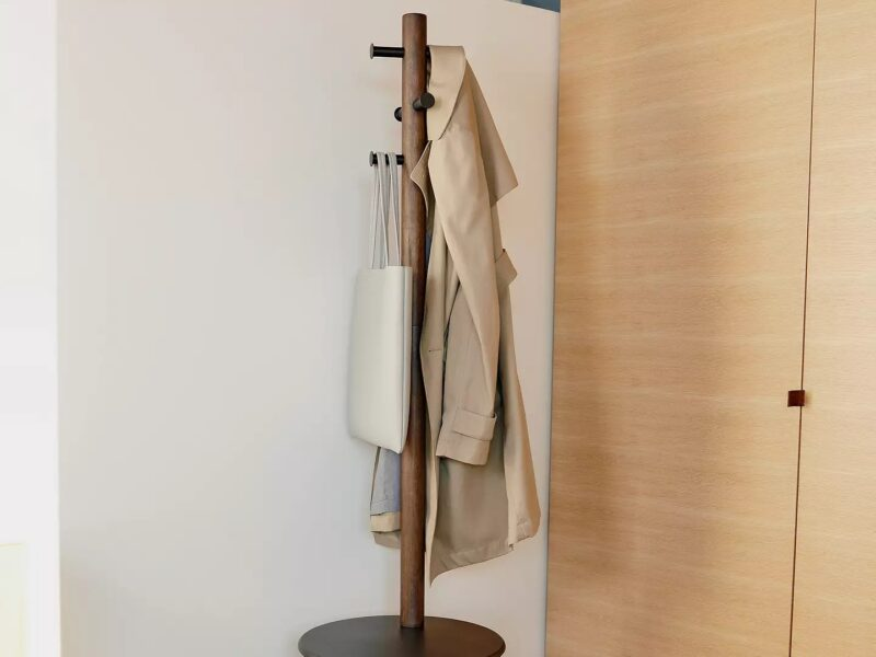 Combined stool and coat rack