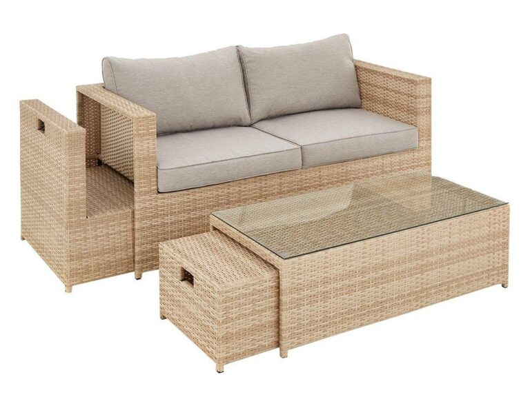 Rattan garden furniture with hideaway tables
