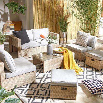 Rhodes light rattan garden furniture set