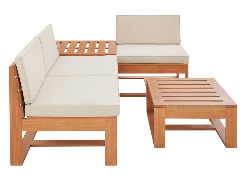 Wooden frame corner set with cream cushions