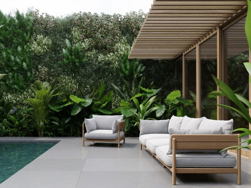 Outdoor sofa and armchair