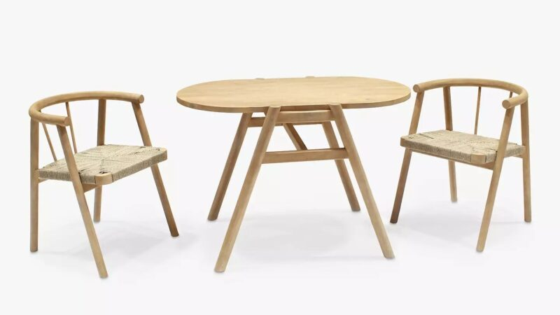 Acacia dining table and two chairs