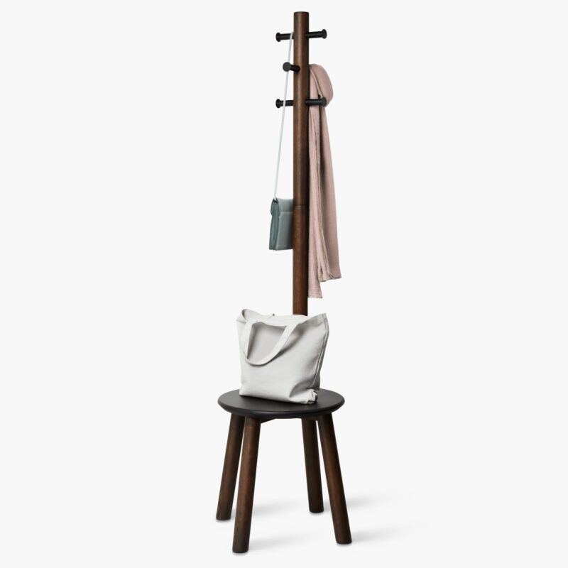 Hallway coat stand with stool