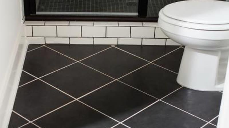Diagonal bathroom tiles