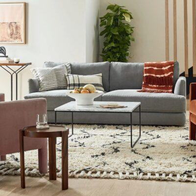 Large 3-seater fabric sofa