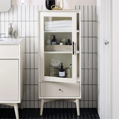 Vintage-style white painted bathroom cabinet