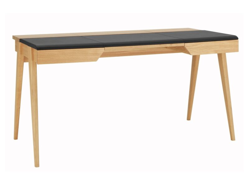 Large oak desk with leather top