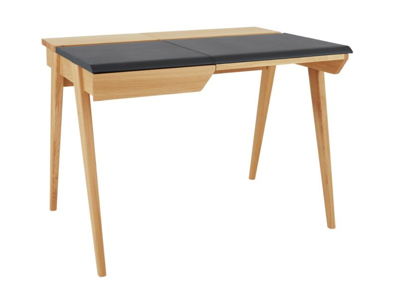 Oak desk with drawer and leather top