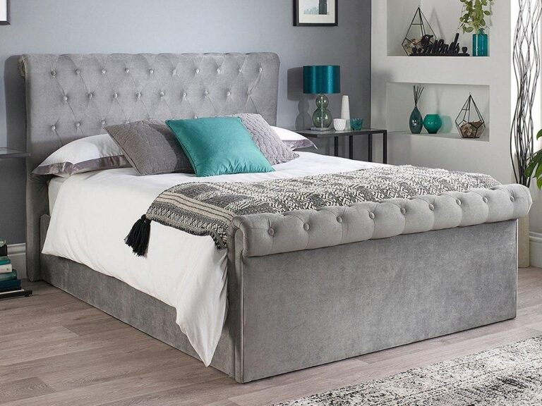 Grey fabric upholstered bed frame