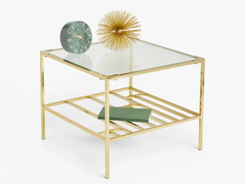 Gold metal coffee table with glass top