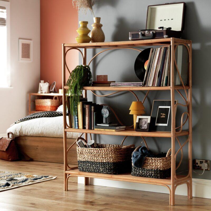 4-tier rattan bookcase