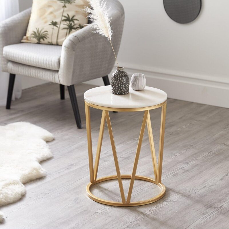 Round marble side table with brass coloured base