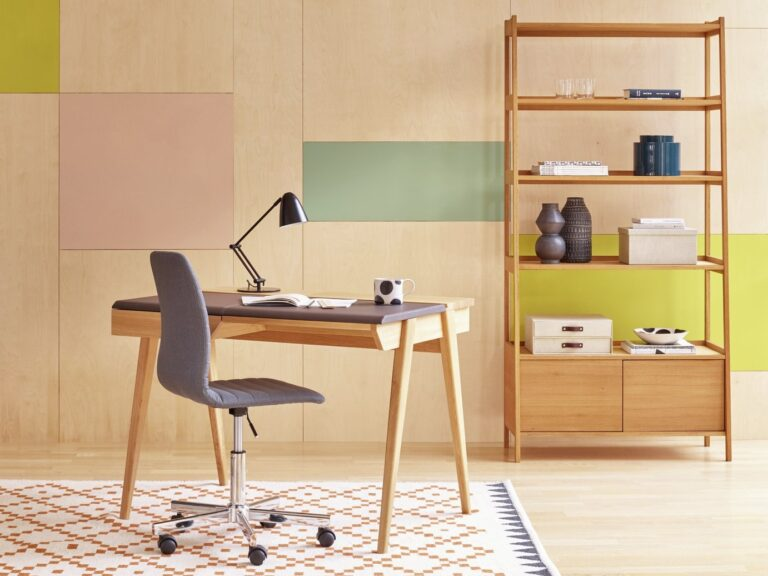 Oak desk with leather top and matching bookcase