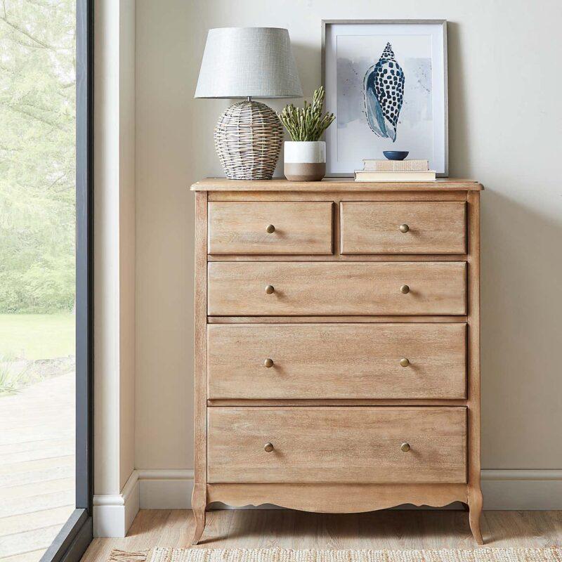 Mango wood 3 plus 2 drawer chest