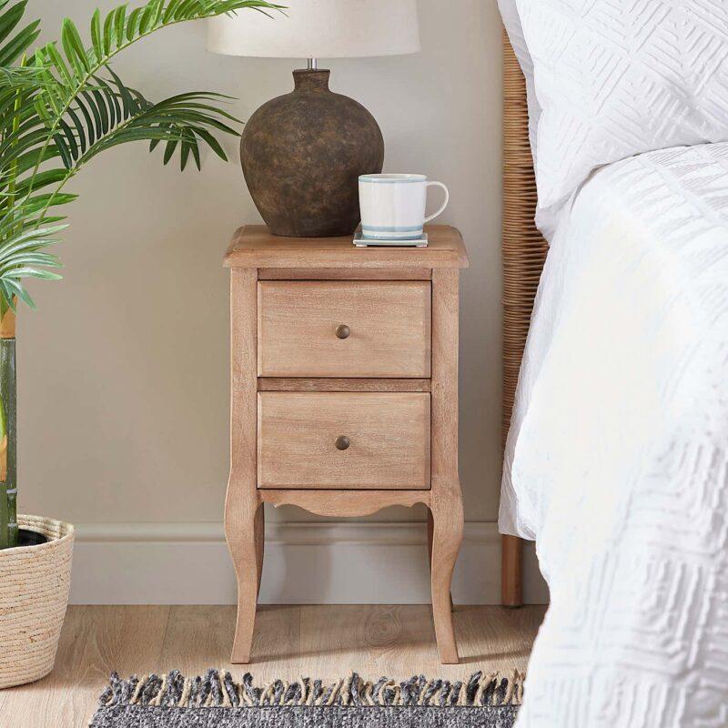 Mango Wood 2-Drawer Bedside Table