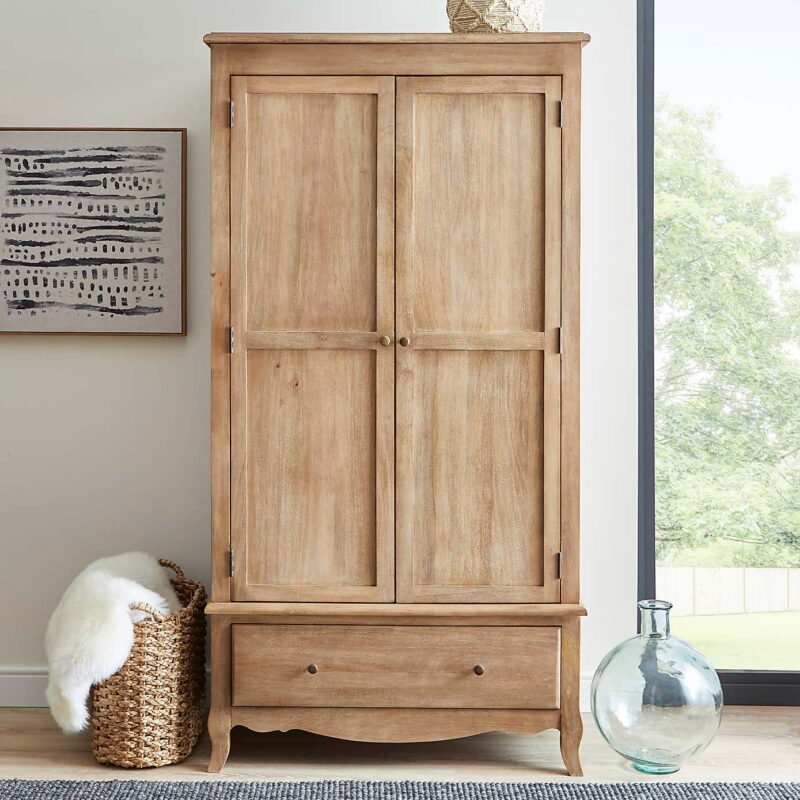 Mango wood wardrobe with drawer