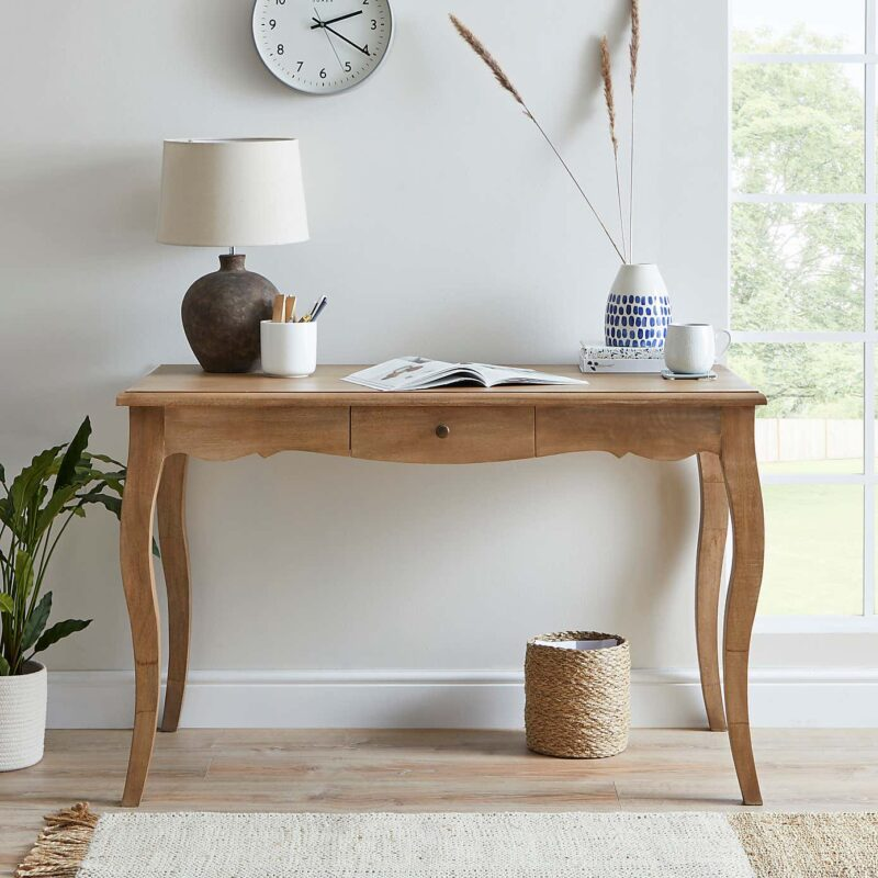 Mango console table with drawer