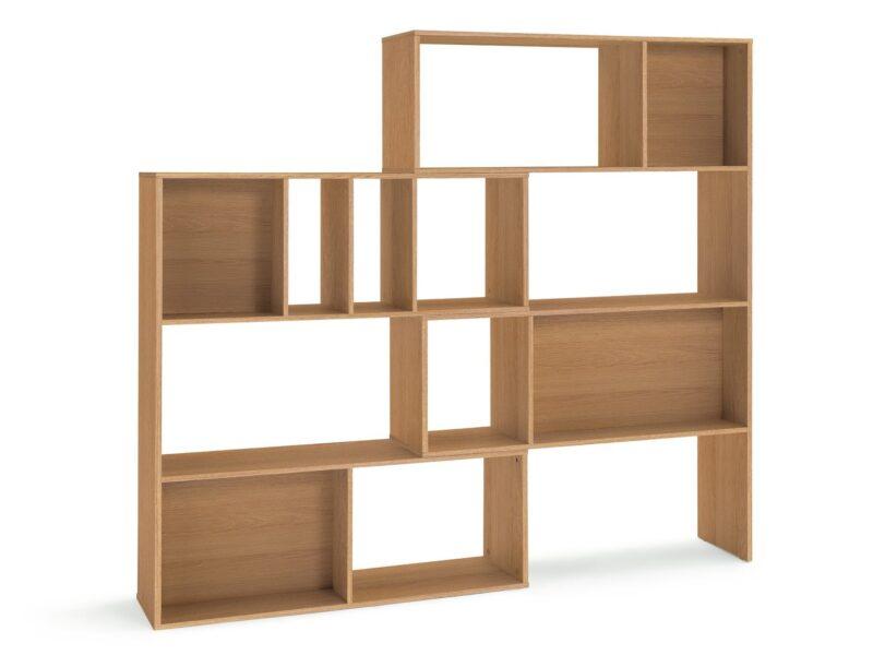 Oak finish extending shelf unit