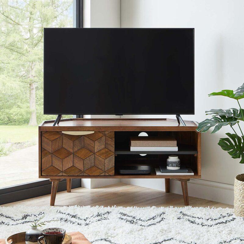 Mango wood corner tv stand