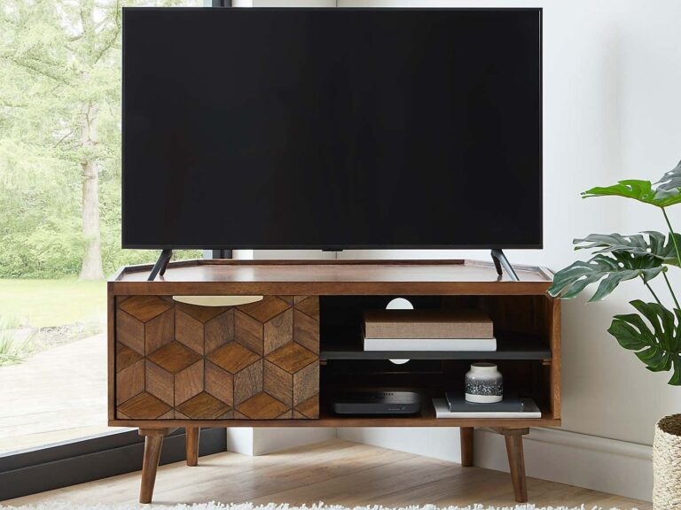 Mango wood TV Stand with hexagonal pattern cupboard door