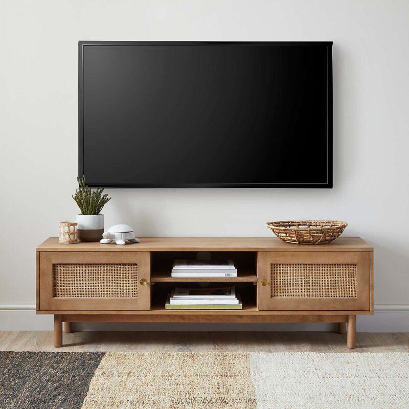 Mango TV Stand with rattan panel doors