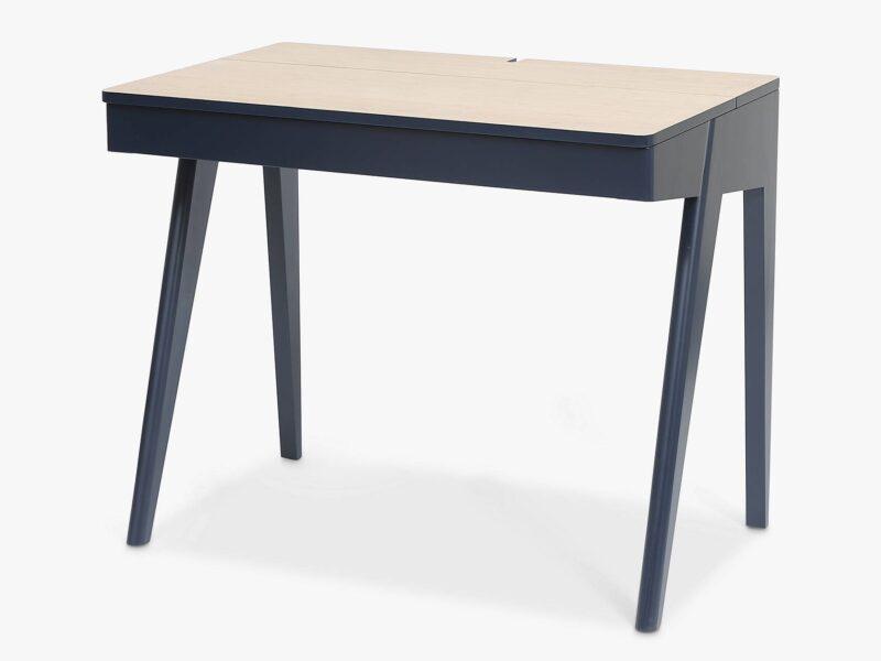 Ink blue desk with oak-effect top
