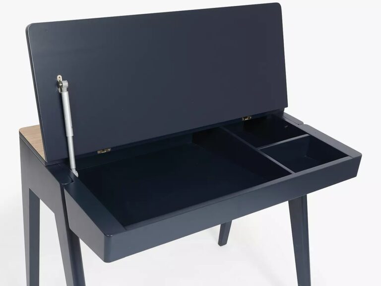 Ink blue desk with lift up storage top