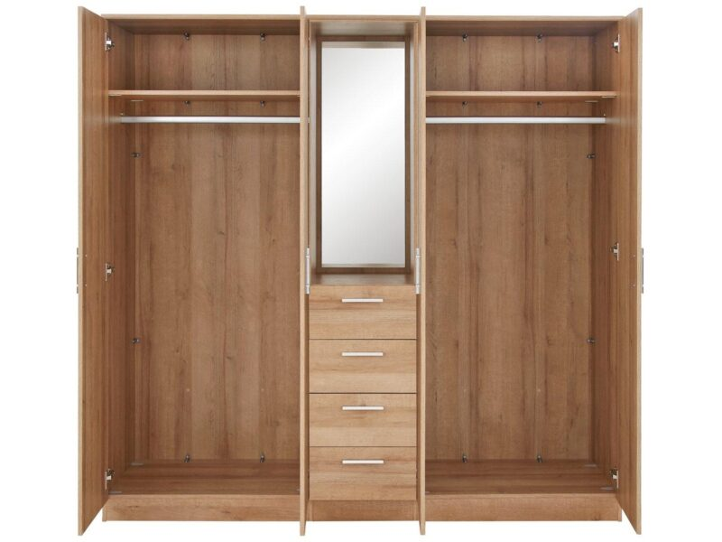 Double wardrobe with a central drawer chest and mirror