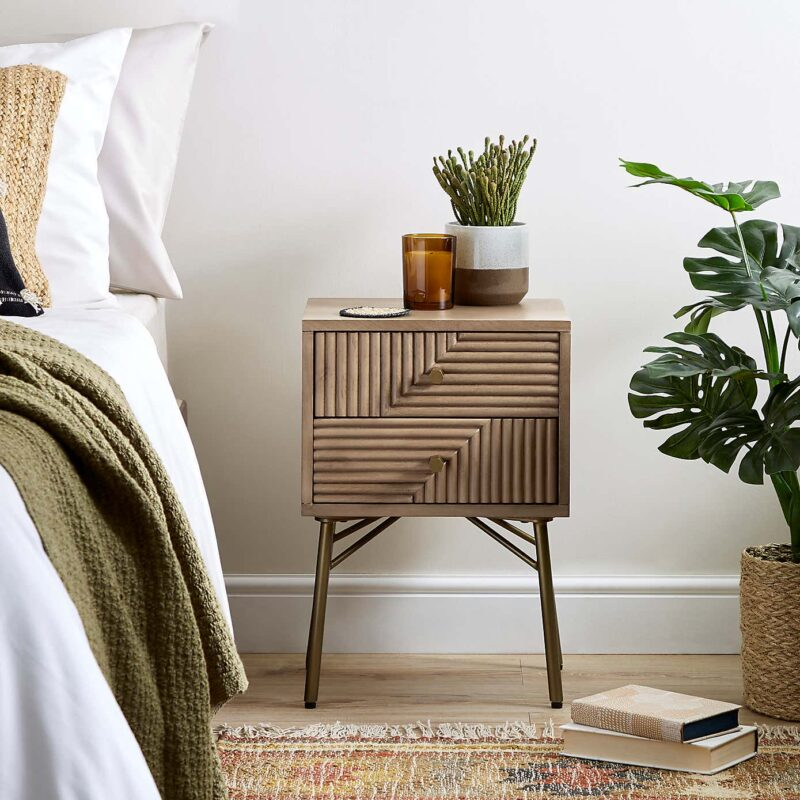 Mango wood side table with groove pattern drawers