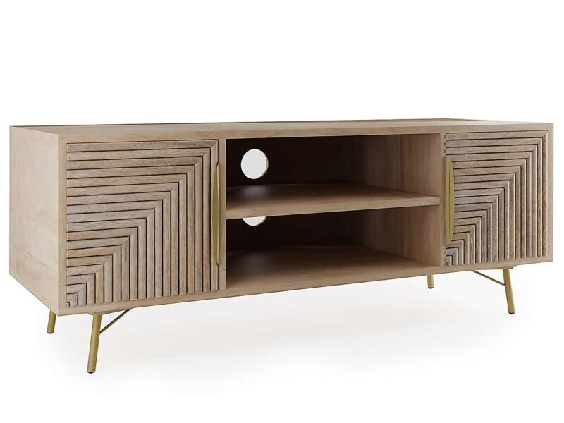 Mango TV stand with groove panel doors