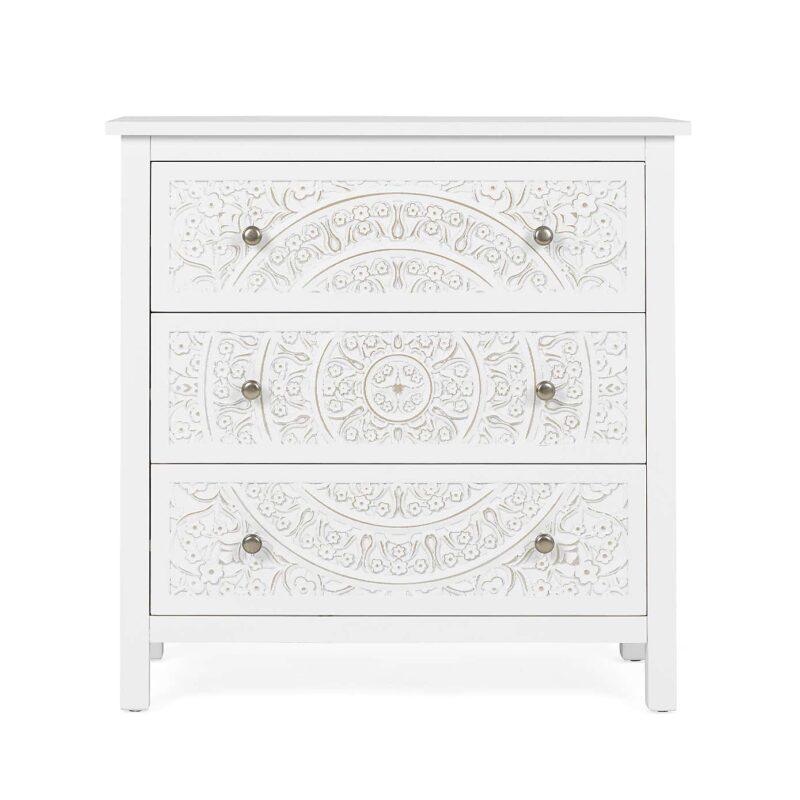 White-painted 3-drawer chest with carved patter drawer fronts