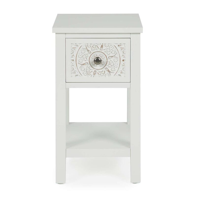 White painted bedside table with carved pattern drawer