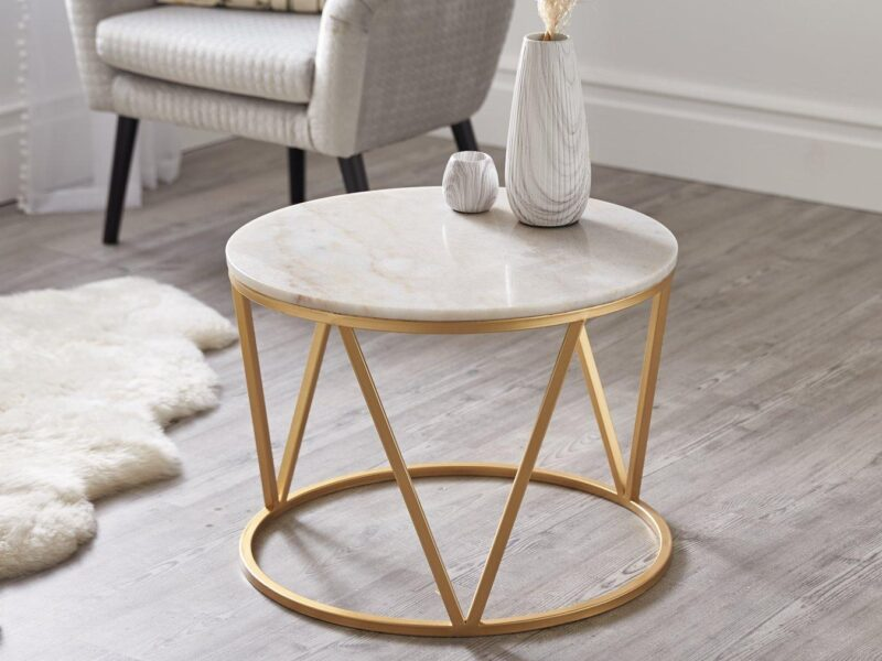 Marble top table with gold frame