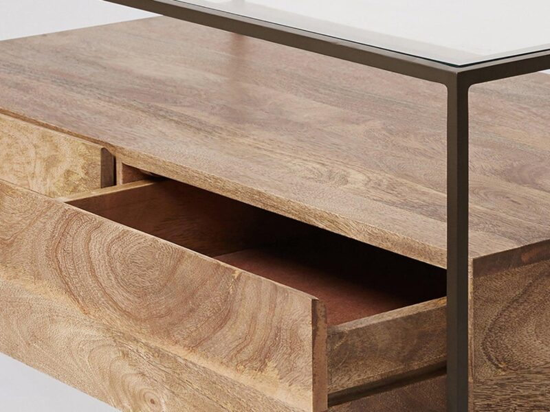 Mango wood storage table with metal frame and glass top
