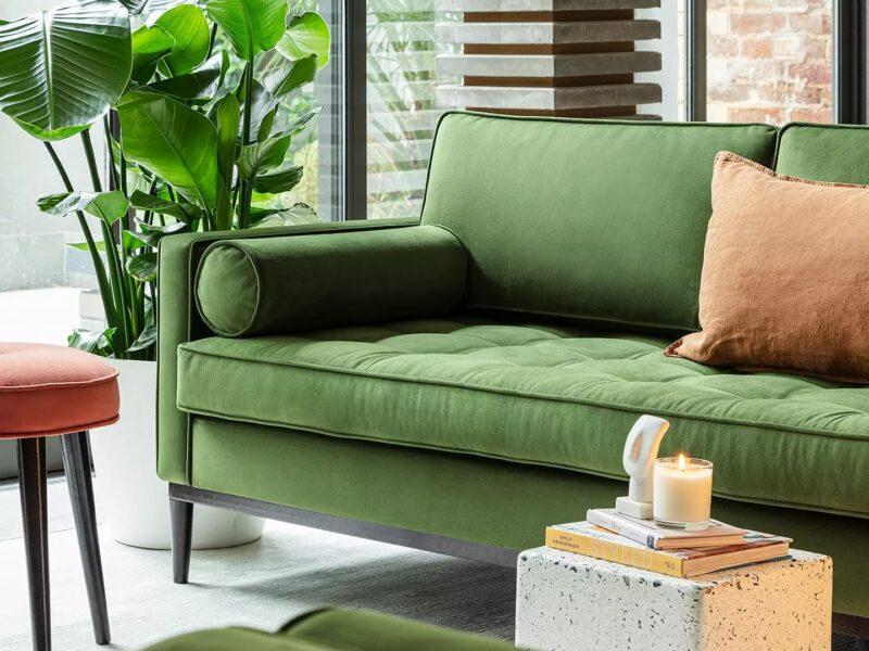 Green velvet 2-seater sofa