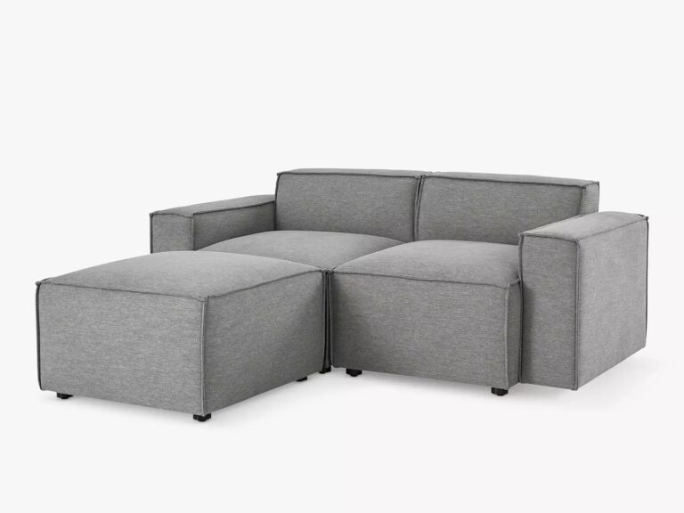 2-seater grey fabric sofa with ottoman foot stool