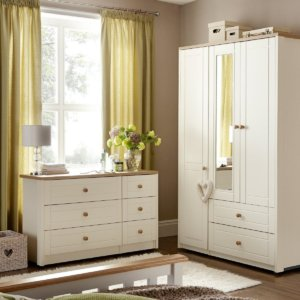Cream coloured combi-wardrobe and 6 drawer chest