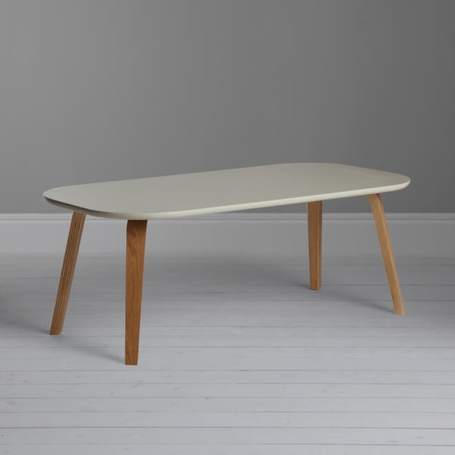 Birch and oak coffee table with smoke coloured top