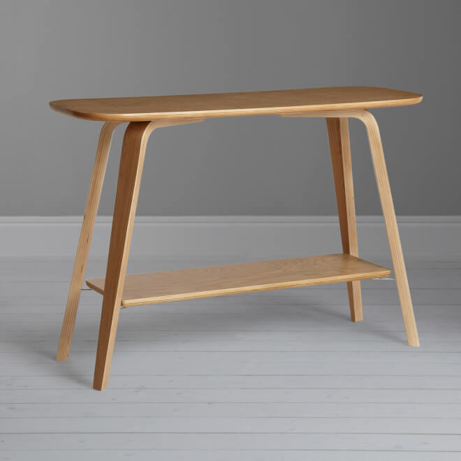 Contemporary style console table with natural finish