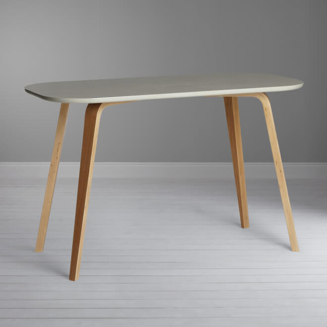 Birch and oak desk with smoke coloured top
