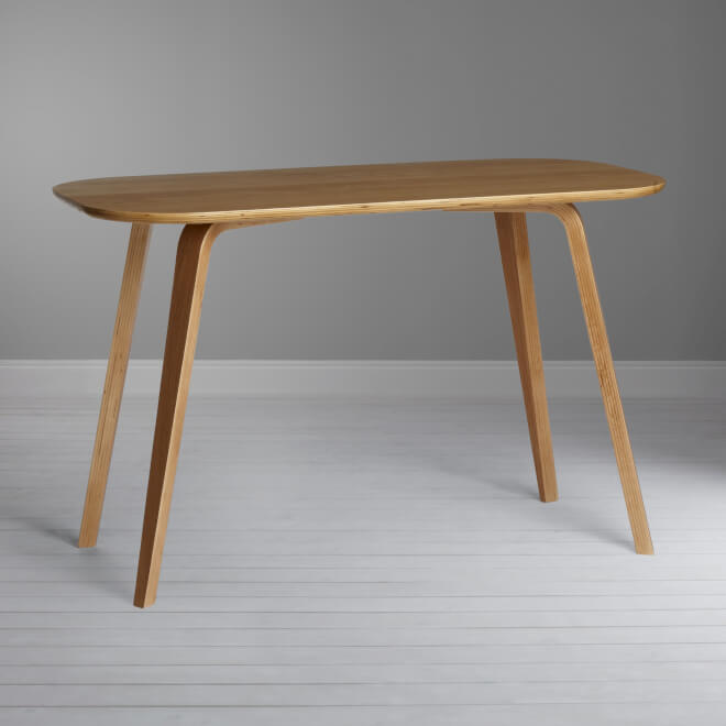 Birch and oak desk with curved top - natural finish