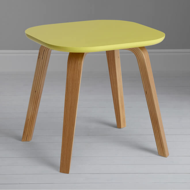 Birch and oak side table with dandelion coloured top