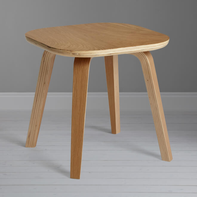 Birch and oak side table with natural finish
