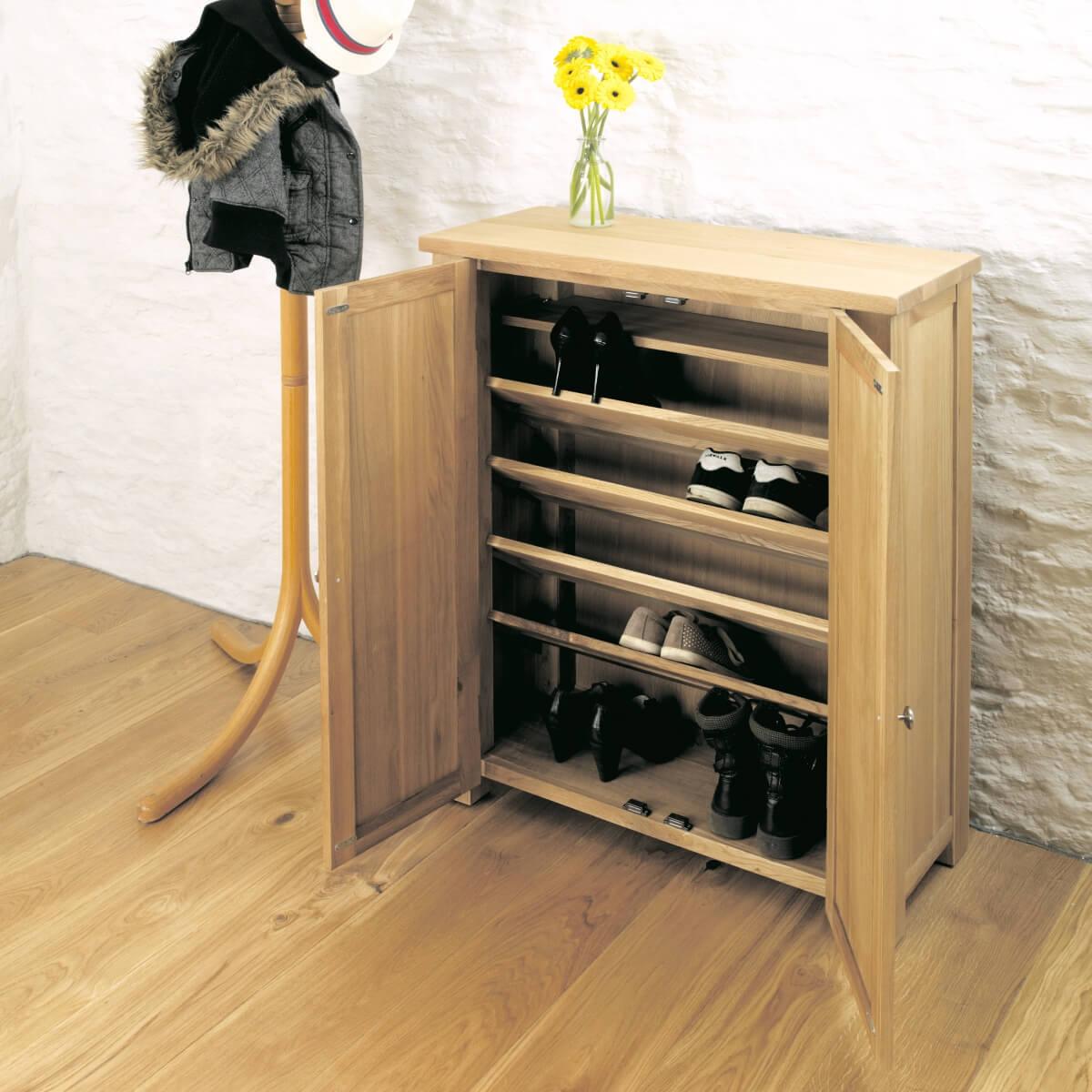 Solid oak shoe cupboard