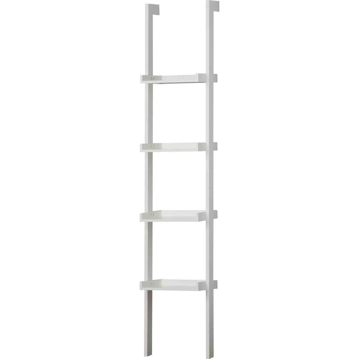 wide white ladder shelf