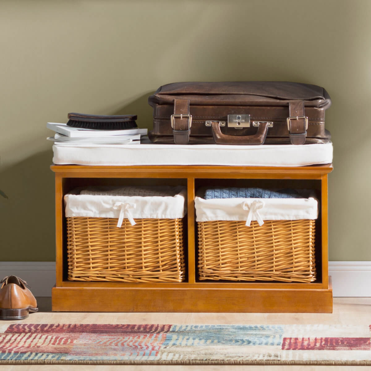 Hallway storage bench with wicker baskets
