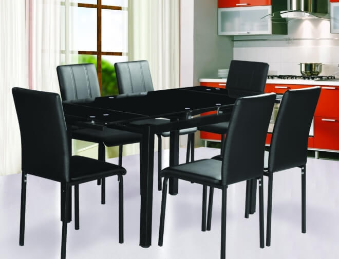 Black glass top dining tables - Black glass top dining table ...